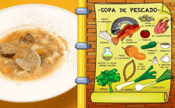 sopa de marisco tradicional, casera y fácil
